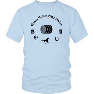 Light Blue Runs With Hay Bales- T-Shirt