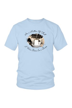Born In A Barn - Tops-T-shirt-teelaunch-Unisex Tee-Ice Blue-S-Three Wild Horses