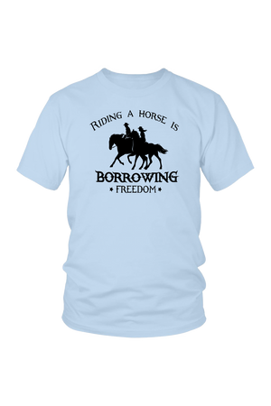 Light Blue Riding A Horse - Borrowing Freedom T-Shirt