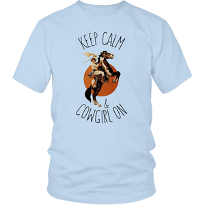 Light Blue Keep Calm & Cowgirl On- T-Shirt