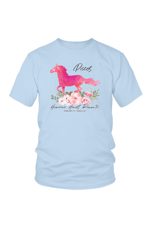 Pisces Horse Unisex Shirt-T-shirt-teelaunch-District Unisex Shirt-Ice Blue-S-Three Wild Horses