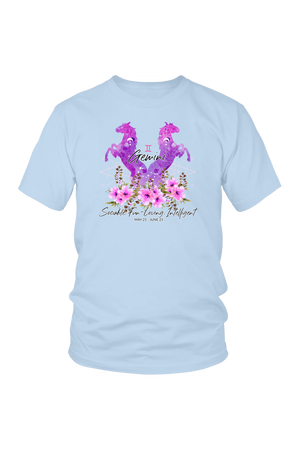 Gemini Horse Unisex Shirt-T-shirt-teelaunch-District Unisex Shirt-Ice Blue-S-Three Wild Horses