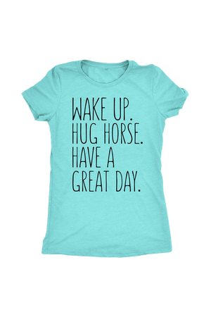 Sky Blue Hug Horse Have A Great Day Horse T-Shirt