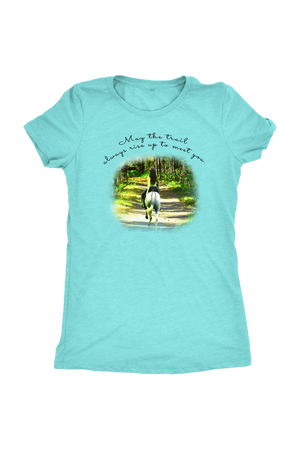 The Trail Always Rise - Tops-T-shirt-teelaunch-Ladies Triblend-Tahiti Blue-S-Three Wild Horses