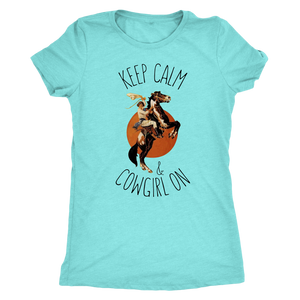 Sky Blue Keep Calm & Cowgirl On- T-Shirt