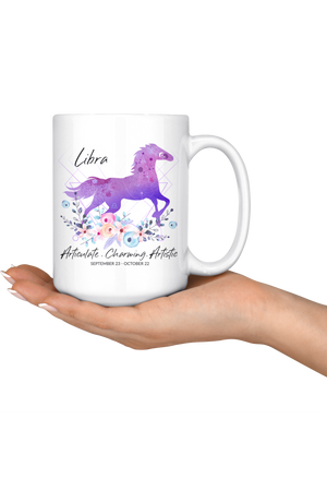 Libra Zodiac Horse Coffee Mug-Drinkware-teelaunch-Libra Purple Horse Mug-Three Wild Horses