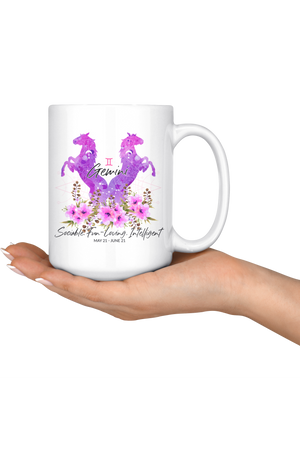 Gemini Zodiac Horses Coffee Mug-Drinkware-teelaunch-Gemini Purple Horse Mug-Three Wild Horses