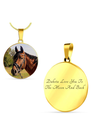 Round Photo Necklace-Jewelry-ShineOn Fulfillment-Luxury Necklace (Gold)-Yes-Three Wild Horses