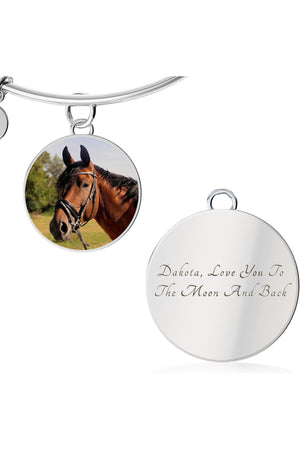 Upload my photo - Bangle-Jewelry-ShineOn Fulfillment-Circle Pendant Silver Bangle-Yes-Three Wild Horses