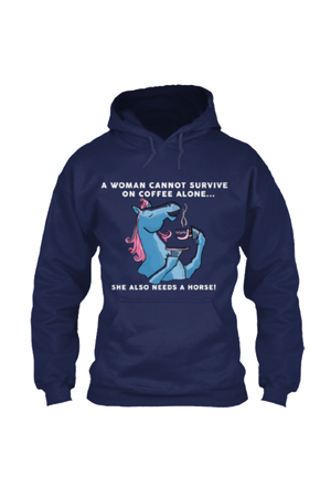 Yes, she also needs a horse - Long sleeve-Long Sleeve-Teescape-HOODIE-Navy-S-Three Wild Horses