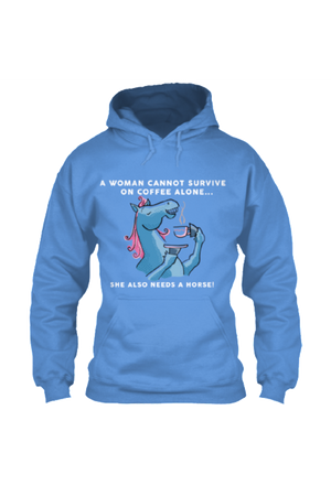 Yes, she also needs a horse - Long sleeve-Long Sleeve-Teescape-HOODIE-Royal Blue-S-Three Wild Horses