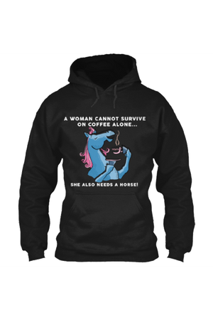 Yes, she also needs a horse - Long sleeve-Long Sleeve-Teescape-HOODIE-Black-S-Three Wild Horses