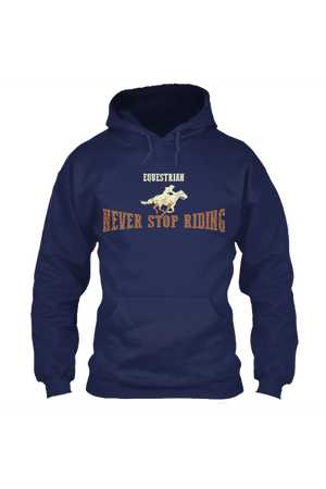 Never Stop Riding - Long Sleeve-Long Sleeve-Teescape-HODDIE-Navy-S-Three Wild Horses