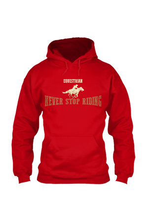 Never Stop Riding - Long Sleeve-Long Sleeve-Teescape-HODDIE-Red-S-Three Wild Horses