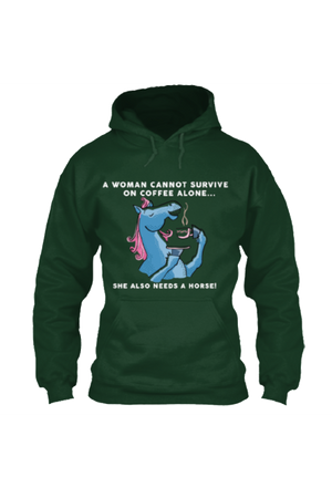 Yes, she also needs a horse - Long sleeve-Long Sleeve-Teescape-HOODIE-Forest Green-S-Three Wild Horses