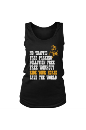 Ride Your Horse, Save the World - Tank Tops-Tops-teelaunch-Black-S-Three Wild Horses