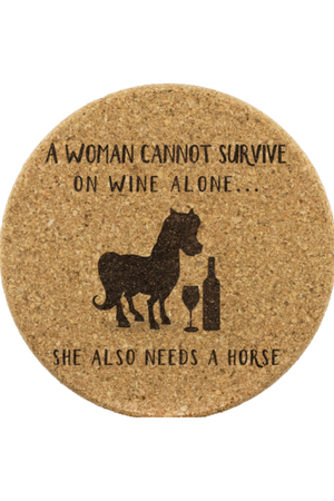 Round Cork Coasters - She Needs a Horse-Coasters-teelaunch-4pcs set-Three Wild Horses