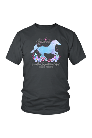 Aquarius Horse Unisex Shirt-T-shirt-teelaunch-District Unisex Shirt-Charcoal-S-Three Wild Horses