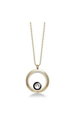 White Smoke Gold Plated One Moon Custom Necklace