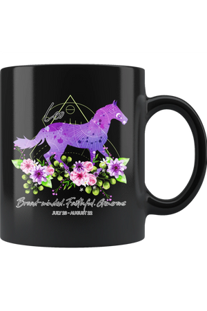 Leo Zodiac Horse Black Mug-Drinkware-teelaunch-Leo Purple Horse Black Mug-Three Wild Horses