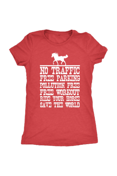 Ride Your Horse, Save the World - Tops-Tops-teelaunch-Ladies Triblend-Red-S-Three Wild Horses