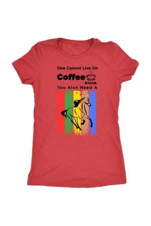 You Also Need A Horse - Tops-T-shirt-teelaunch-Ladies Triblend-Vintage Red-S-Three Wild Horses
