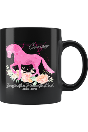 Cancer Zodiac Horse Black Coffee Mug-Drinkware-teelaunch-Cancer Pink Horse Black Mug-Three Wild Horses