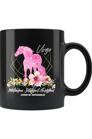 Virgo Zodiac Horse Black Mug-Drinkware-teelaunch-Virgo Pink Horse Black Mug-Three Wild Horses
