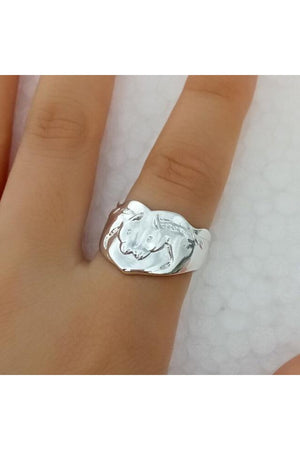 Two Horse Head Adjustable Ring-Jewelry-Three Wild Horses-Silver-Three Wild Horses