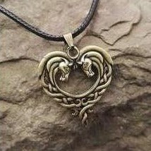 Rosy Brown Celtic Horse Lords Necklace in Bronze