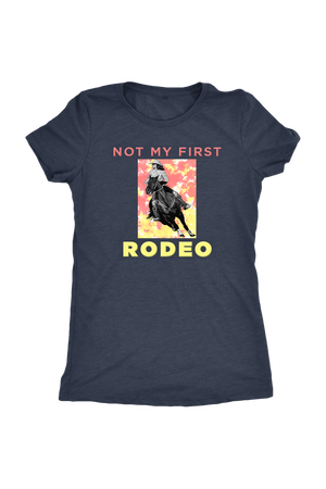 Not My First Rodeo Horse Shirt-T-shirt-teelaunch-Womens Triblend-Vintage Navy-S-Three Wild Horses