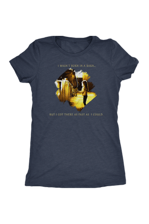 I Was Not Born In The Barn Tops-T-shirt-teelaunch-Womens Triblend-Vintage Navy-S-Three Wild Horses