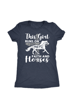 Dark Slate Gray This Girl Runs on Faith & Horses T-Shirt