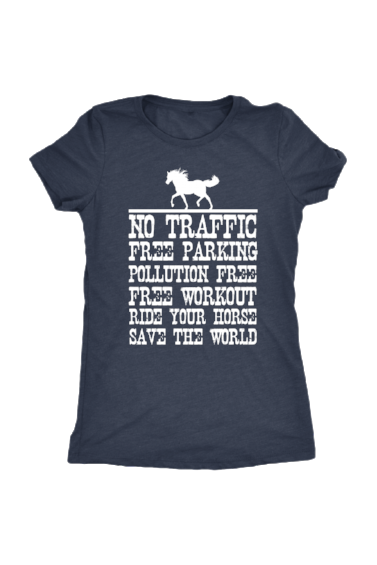 Ride Your Horse, Save the World - Tops-Tops-teelaunch-Ladies Triblend-Navy-S-Three Wild Horses
