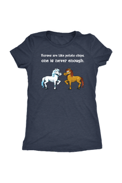 Horses Are Like Potato Chips - Tops-Tops-teelaunch-Ladies Triblend-Navy-S-Three Wild Horses