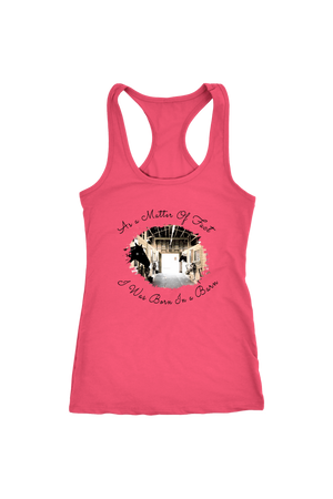 Born In A Barn - Tops-T-shirt-teelaunch-Racerback Tank-Hot Pink-S-Three Wild Horses
