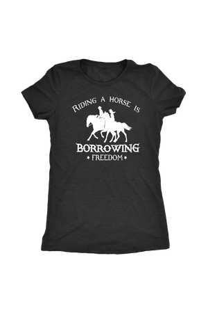 Dark Slate Gray Riding A Horse - Borrowing Freedom T-Shirt in Black