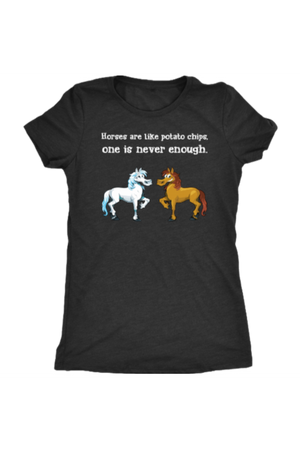 Horses Are Like Potato Chips - Tops-Tops-teelaunch-Ladies Triblend-Black-S-Three Wild Horses