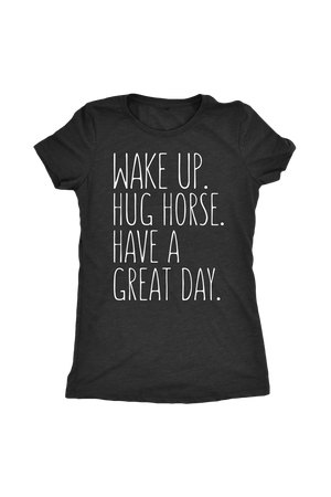 Dark Slate Gray Have A Great Day Horse T-Shirt in Black