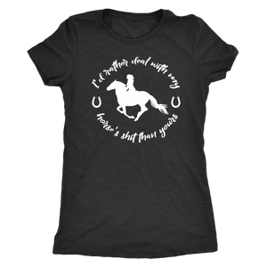 Dark Slate Gray Deal With My Horse T-Shirt in Black