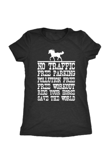 Ride Your Horse, Save the World - Tops-Tops-teelaunch-Ladies Triblend-Black-S-Three Wild Horses