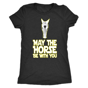 Light Goldenrod Yellow May The Horse Be With You T-Shirt in Black