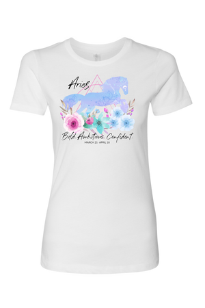 Aries Horse Shirt for Women-T-shirt-teelaunch-Next Level Womens Shirt-White-S-Three Wild Horses