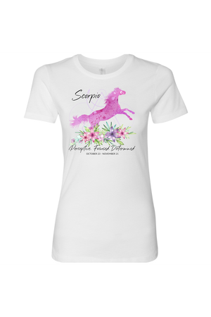 Scorpio Horse Shirt for Women-T-shirt-teelaunch-Next Level Womens Shirt-White-S-Three Wild Horses