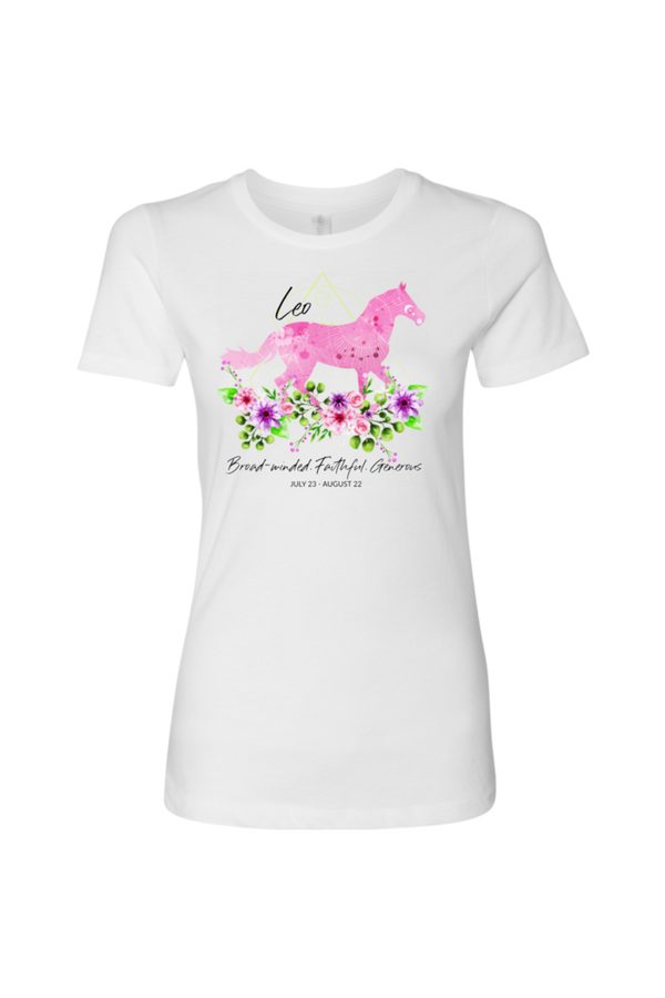 Leo Horse Shirt for Women-T-shirt-teelaunch-Next Level Womens Shirt-White-S-Three Wild Horses