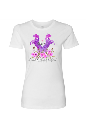 Gemini Horse Shirt for Women-T-shirt-teelaunch-Next Level Womens Shirt-White-S-Three Wild Horses