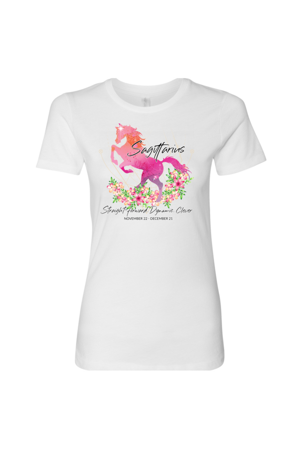 Sagittarius Horse Shirt for Women-T-shirt-teelaunch-Next Level Womens Shirt-White-S-Three Wild Horses