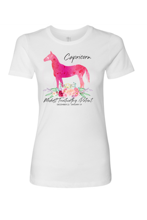 Capricorn Horse Shirt for Women-T-shirt-teelaunch-Next Level Womens Shirt-White-S-Three Wild Horses