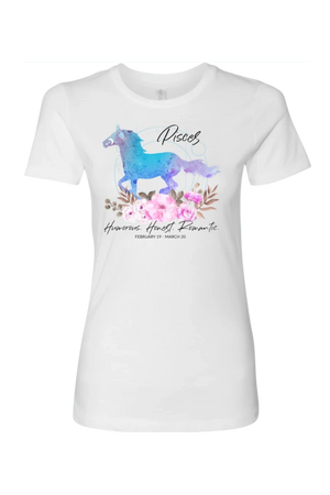 Pisces Horse Shirt for Women-T-shirt-teelaunch-Next Level Womens Shirt-White-S-Three Wild Horses