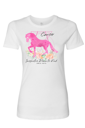 Cancer Horse Shirt for Women-T-shirt-teelaunch-Next Level Womens Shirt-White-S-Three Wild Horses